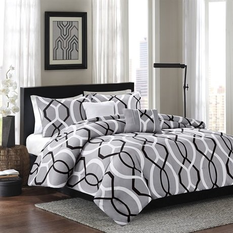 Home Essence Ellie 5 Piece Comforter Set - Black - Full/Queen