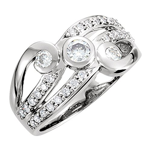1.42 ct Ladies Round Cut Diamond Infinity Style Anniversary Ring in 18 kt White Gold In Size 10 (Infinity Ring Kt Gold 10)