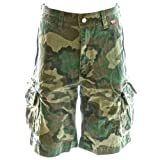 Beach Bumpers Mens Cargo Shorts - 100% Cotton Premium Quality Outdoor Multi-use, Large Euro Woodland Camo