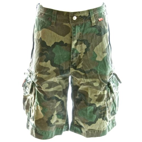 Cargo Shorts Medium Camo - Beach Bumpers Mens Cargo Shorts - 100% Cotton Premium Quality Outdoor Multi-use, Medium Euro Woodland Camo
