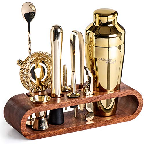 Mixology Bartender Kit: 10-Piece Bar Set Cocktail Shaker Set with Stylish Mahogany Stand | Perfect Home Bartending Kit…