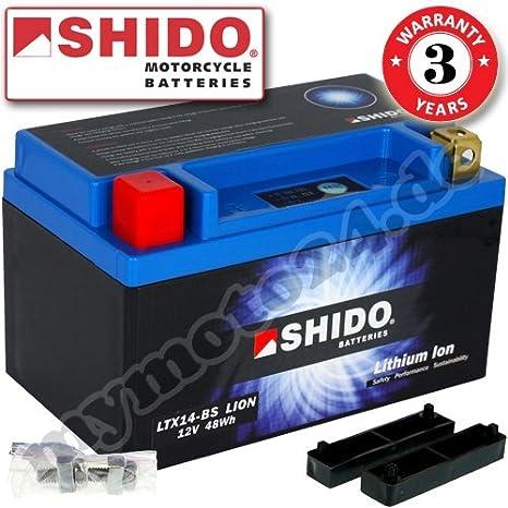 Batterie Shido Lifepo4 Lithium Ltx14 Bs Ytx14 Bs 12v 12ah Maße 150x87x145 Auto