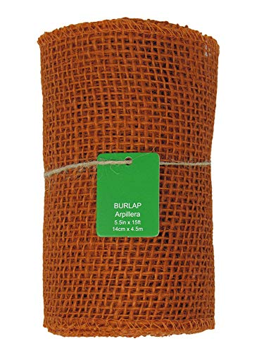 Orange Burlap Ribbon Roll - 5.5