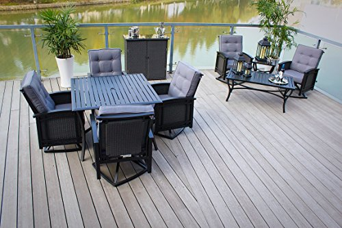 5pc Cast Aluminum Swivel Patio Furniture Dining Set with Slat Top Table - Black