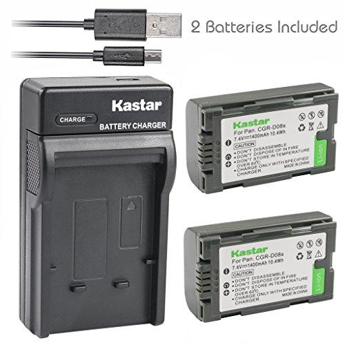 Kastar Battery (X2) & Slim USB Charger for Panasonic CGR-D08 D08S CGR-D14 CGR-D16 D16S CGR-D28 D28S, CGR-D120 CGR-D210 CGR-D220 CGR-D320 & AG Series AJ-PCS060G DZ-MX5000 NV Series PV Series VDR-M20