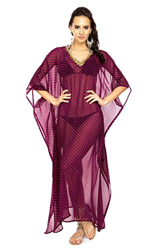 Mujer Larga Kimono Maxi De Verano Manta Para Playa Vestido Kaftán Tamaño Libre Maroon-305