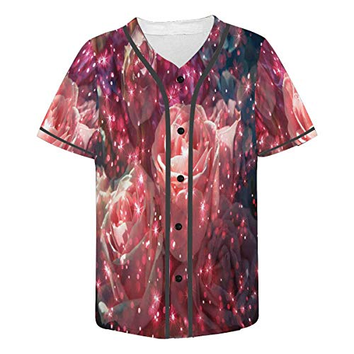 - INTERESTPRINT Men's Button Down Baseball Jersey Short Sleeve Shirt Abstract Bouquet Rose Flower 3XL