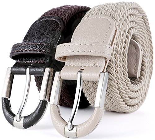 Marino Braided Stretch Belt - Fabric Woven Belt - Casual Weave Elastic Belt for Men and Women - Brown/Khaki - XL]()