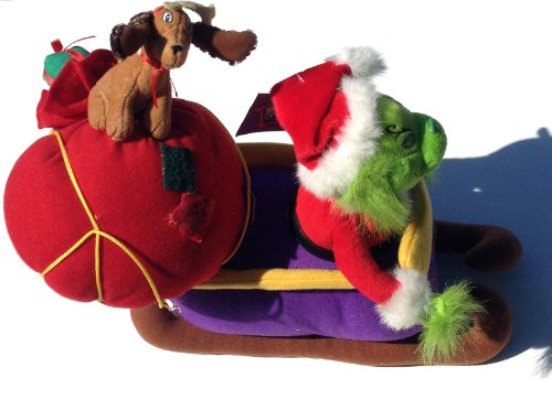 Animated Grinch Who Stole Christmas Musical Singing Plush Sled Max Dog (Grinch Sled)