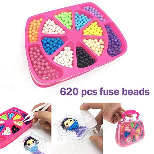 (TANGON Water Beads for Kids NonToxic Magic Water Fuse Sticky Beads Mist Bean Puzzle Art Crafts Toys with Patterns Pegboards & Accessories for Kids Beginners)