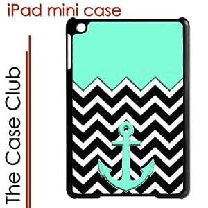 iPad Mini Black Protective Hard Case - Teal Chevron Stripes Anchor