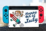 Happy 4th of July Quote Cute Girl on Firework American Flag Image Design Pattern Nintendo Switch Dock Vinyl Decal Sticker Skin by Trendy Accessories