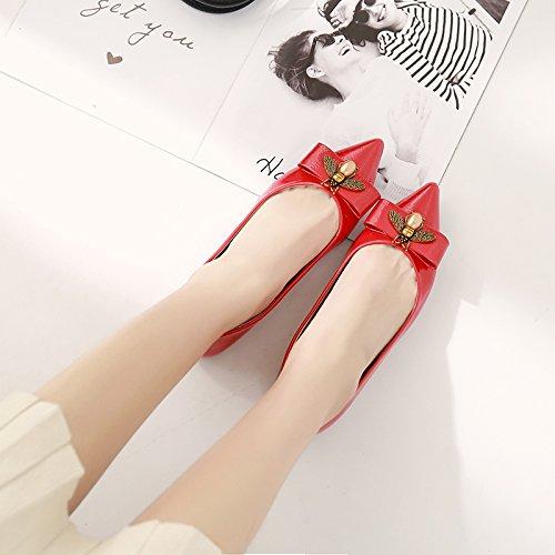 Xue Qiqi Tipp Flache Flache Flache Schuhe Flache Mund Bow Tie Leder Flache Schuhe mit Einer Einzigen Frau mit der Niedrigen Frauen Schuhe Lackiert c5a17e