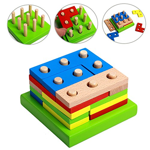ids Baby Wooden Geometry Block Puzzle Montessori Early Learning Educational - Shopping Sydney Online Australia
