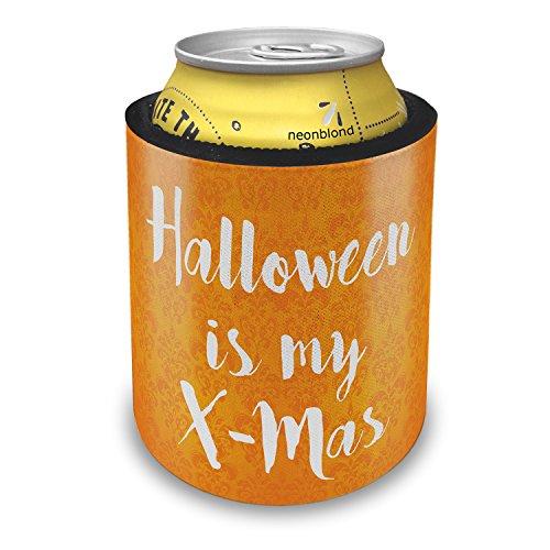 NEONBLOND Halloween is my X-Mas Halloween Orange Wallpaper Slap Can Cooler Insulator Sleeve -