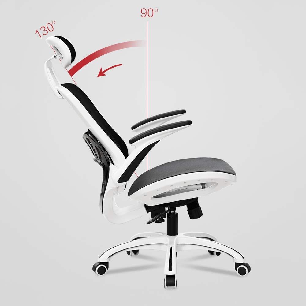 WYY HPLL kontorsstol svängbar stol, ergonomisk datorstol, kontorsstol, E-sportstol, hushållsryggstödstol, lyftande rotera fåtölj, vit/svart svängbar stol (färg: B-svart) B-vitt