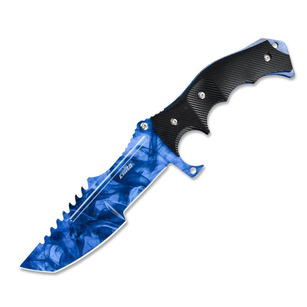 CIMA Huntsman CS:GO Knife, Multi-Color Full Tang Fixed Blade Tactical Knife, 10.8 in (Sapphire)