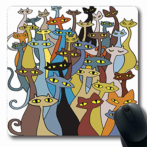 Ahawoso Mousepad Oblong 7.9x9.8 Inches Frame Orange Celebration Hand Drawing Doodle Cats Grave Evil Group Flat Bizarre Red Cool Design Office Computer Laptop Notebook Mouse Pad,Non-Slip Rubber