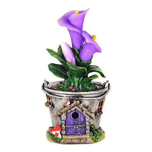 My Fairy Gardens Mini - Solar Bucket Fairy House With Purple Flowers