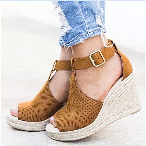 Shoes Cachi Eleganti Sandali Minetom Piattaforma Traspirante Sandals Scarpe Fibbia Moda Zeppa Casual Romani Estivi Donna pUSCa0wq