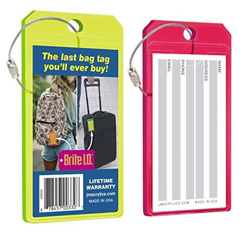 Brite I.D. Neon Acrylic Luggage Tag Set: Durable and Secure Brightly Colored ID Holders for Travel, Green / Red Combo  Pack