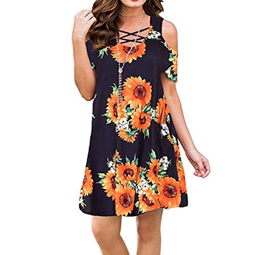 Answerl Womens Dresses Cold Shoulder Round Neck Loose Tunic Casual T Shirt Dress Floral Print Sundress Black