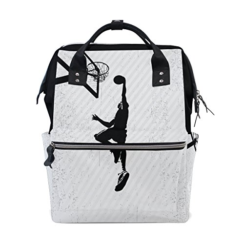 Diaper Bag Multi Functional Stylish Basketball Characters Large Capacity Nappy Bags for Baby Care Mummy Backpack Durable Travel Backpack by XinMing