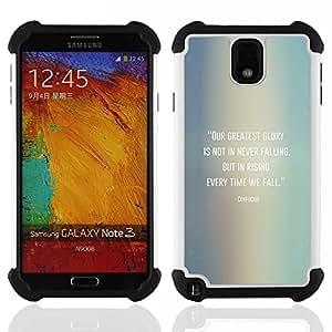 For Samsung Galaxy Note3 N9000 N9008V N9009 - Confucius Quote Falling Get Up /[Hybrid 3 en 1 Impacto resistente a prueba de golpes de protecci????n] de silicona y pl????stico Def/ - Super Marley Shop -