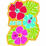 Hawaiian Summer Luau Party Hibiscus Postcard Invitation , Paper, 6