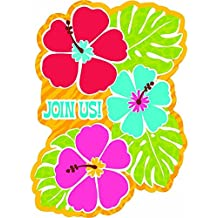 "Amscan Hawaiian Summer Luau Party Hibiscus Postcard Invitation , Paper, 6"" x 4"", Pack of 20"
