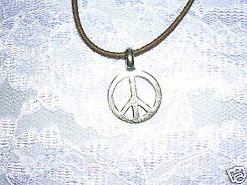 60S Style Small Peace Sign Pendant Brown 18 Suede Cord Necklace KEZ-3418 ()