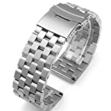 Brushed Stainless Steel Watch Band Strap 18mm/20mm/22mm/24mm Double Locking Clasp Men Women Black/Silver