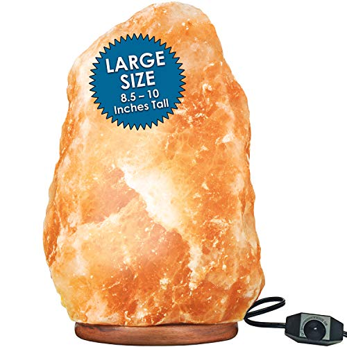 Large Himalayan Rock Salt Lamp Pink Salt Crystal Natural Authentic Hand Carved Decor Lighting Dimmable - 8.5-10 Inches Tall
