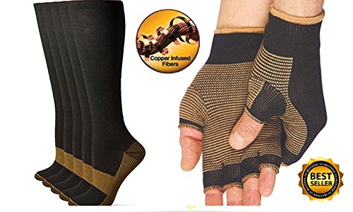 CopperCo. Premium Copper Threaded Glove And Compression Sock Set For Athletes, Physical Labor Workers, Gardening, Physical Rehabilitation Booster, And Many Many More Uses by CopperCo.