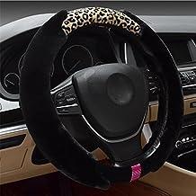 R&R Ladies Winter Fur Fashion Premium Car Steering Wheel Cover , black leopard