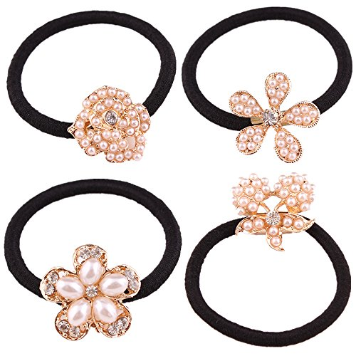 2015 New From Factory Directly 4pcs Rose Full Pearl with Crystal Rhinstone Flower Five Leaves Flower Design for Baby Kids Children Girl Women Hair Accessories Elastic Tie Ponytail Holders Princess Baby Hair Rope Rubber Bands Accessories Cuhair(tm) Welcome to Retail or Wholesale