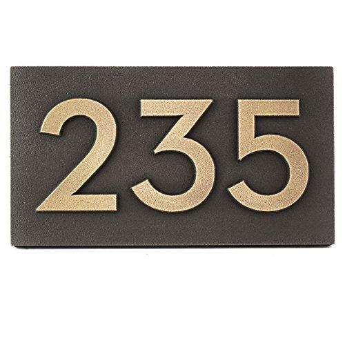 太字Classy現代フォント家またはビジネスアドレスPlaque – 12.5 X 7 – 真鍮メタルコーティングSign Up To 3 Numbers B00IZMVIIS