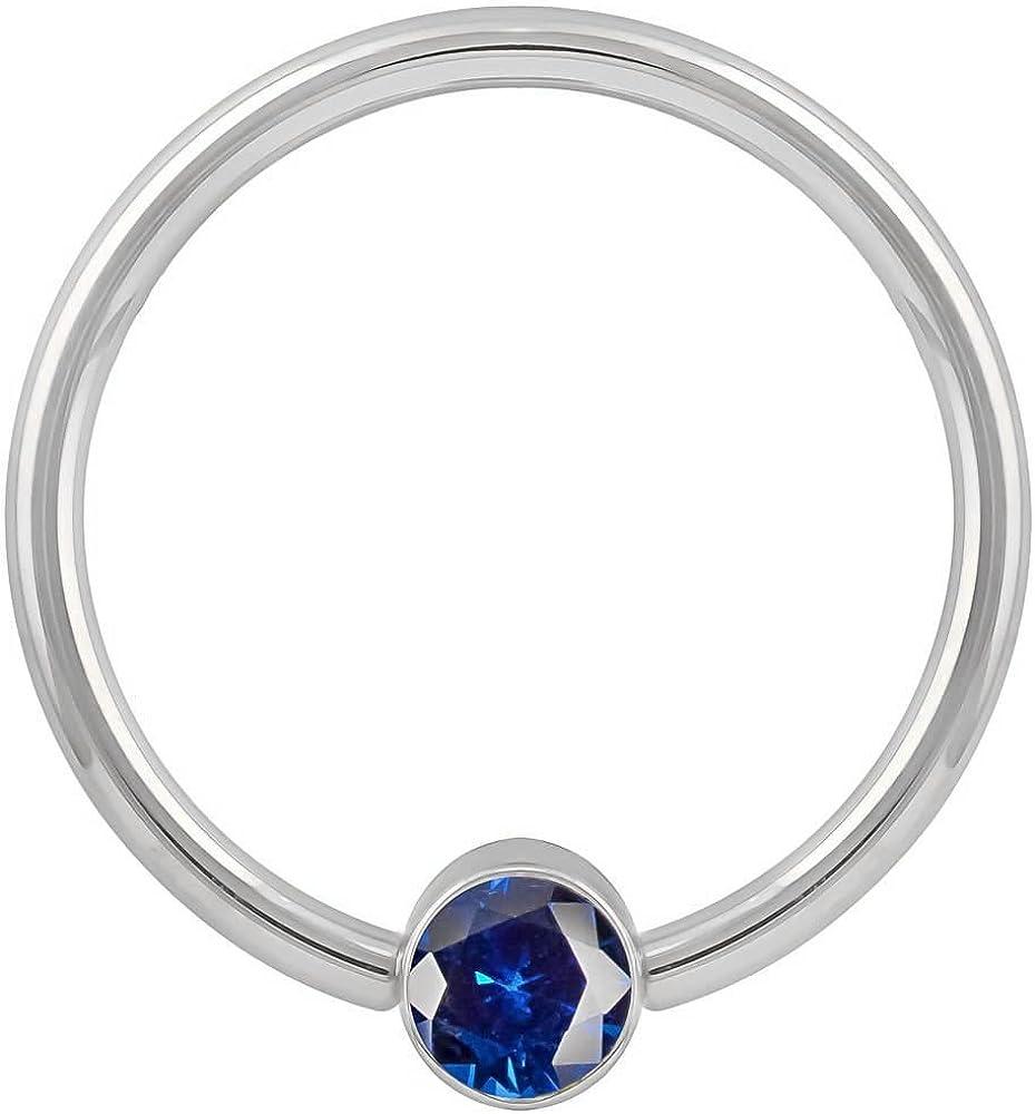 16G 1//2 Dark Blue Cubic Zirconia Round 14K White Gold Captive Bead Ring Nipple Septum Piercing