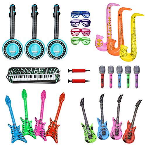 24 Inflatable Rock Star Toy Set,Inflatable Party Props,Inflatable Guitar,Microphones,Shading Glasses,Saxophone, Inflatable Keyboard Piano etc Inflatable Instrumen Toys for Concert Party Favors -