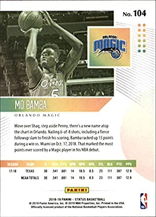 Amazon.com: 2018-19 Status Basketball #104 Mo Bamba Orlando Magic Rookies Level 1 Rookie Card Official NBA Trading Card From Panini: Collectibles & Fine Art
