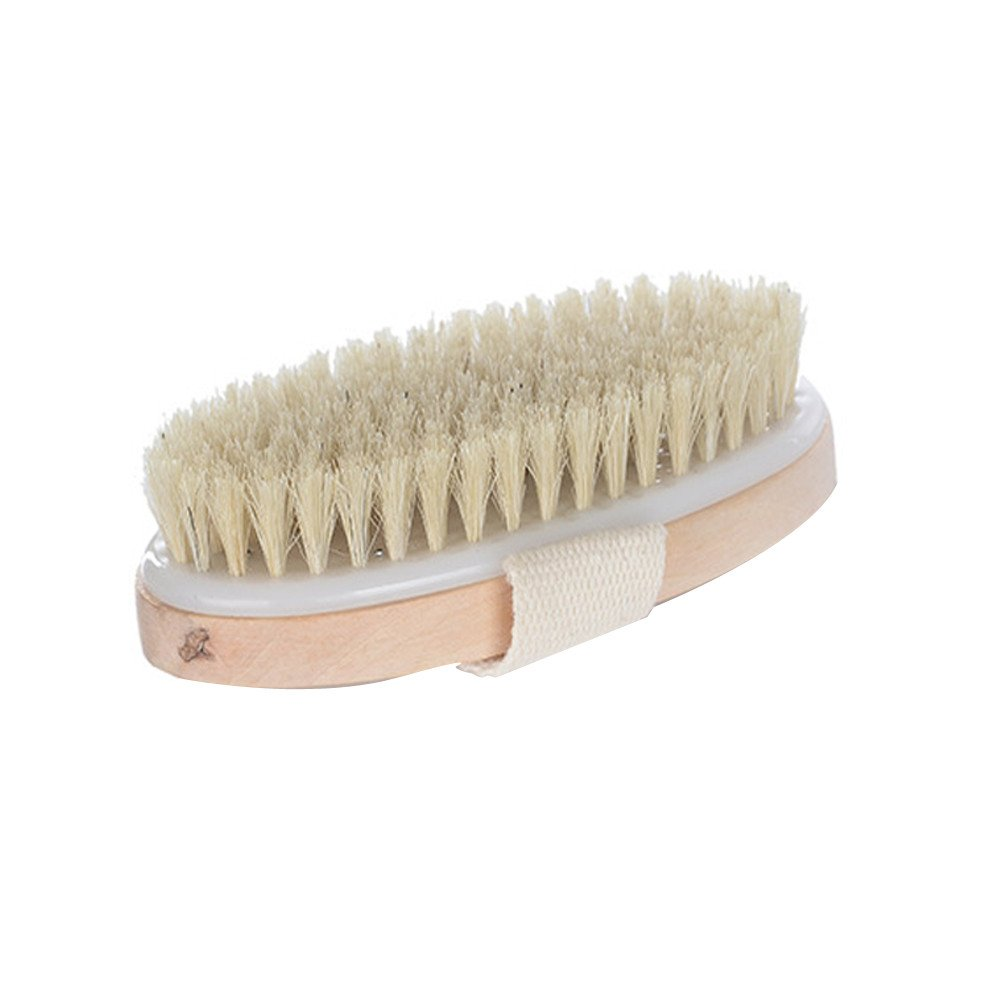 Thenxin Premium Natural Bristle Wooden Bath Shower Dry Brush Skin Spa Back Body Bath Brush (one size, Yellow)