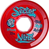 Sector 9 Top Shelf Nine Balls Skateboard Wheel, Red, 69mm 78A