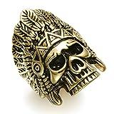 Eamaott Cool Indian Chiefs Headdress Skull Ring Men Stainless Steel Hip Hop Biker Ring Gold Size 12