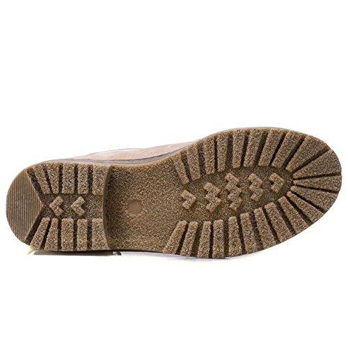 RAZAMAZA Women's Buckle Strap Block Heel Ankle Booties Beige SV4yR5WlGp