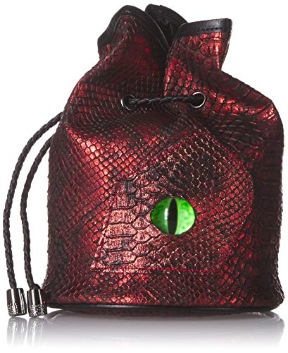 Dice Bag for Dungeons and Dragons. Red Dragon Leather (Faux) with Green Dragons Eye. Stands Up. Drawstring. Satin ()