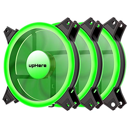 upHere Green Computer Case Fan 120mm LED Silent Fan for Computer Cases, CPU Coolers, and Radiators Ultra Quiet, Premium Edition,3 Pin 3 Pack/G12CM3-3