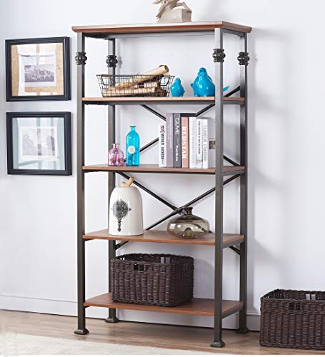 - O&K FURNITURE 5-Tier Vintage Industrial Bookcase Furniture, Home Office Open Shelving Unit, Maple