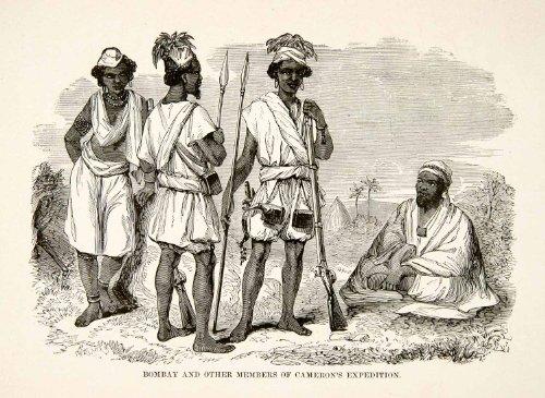 [1884 Wood Engraving Cameron Africa Expedition Explorer Spear Rifle Gun Costume - Original Wood] (Lieutenant Costumes)