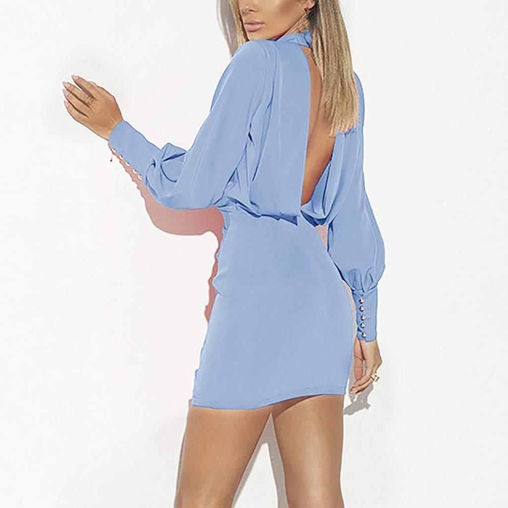672485578c Amazon.com: Womens Sexy Backless Dresses, Casual O-Neck Long Sleeve ...