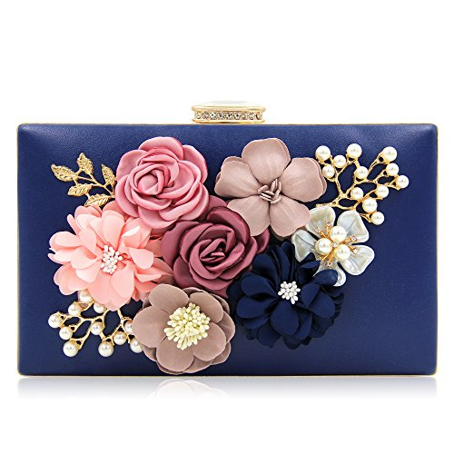 Milisente Women Flower Clutches Evening Bags Handbags Wedding Clutch Purse (Navy Blue) Beaded Metallic Evening Bag